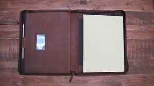 Brown Leather Presentation Folder Portfolio Branded Personalised Option It08 0