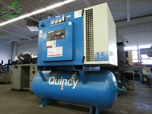 Quincy 15 Hp 460v Rotary Screw Air Compressor 100 175 Psi 120 G Tank Id a 007