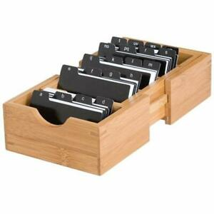 810 Bamboo Wood Expandable Business Card Holder With Alphabet Index Tabs 5
