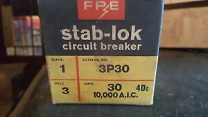 New In Box Federal Pacific Fpe Stab lok Breaker 3p30 Type Na 3 Pole 30 Amp