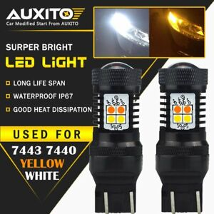 Auxito 2x 7443 7444na Switchback White Amber 3030smd Led Turn Signal Light Bulbs