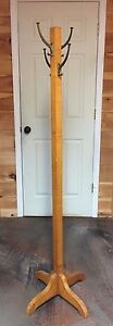Antique Birdseye Maple Coat Stand Rack Tree With 4 Metal Hooks 64 1 2 Tall