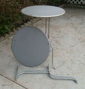 Vintage Pair Metal Round Side Tables Collapsible Tri Leg Sticker Sony Display