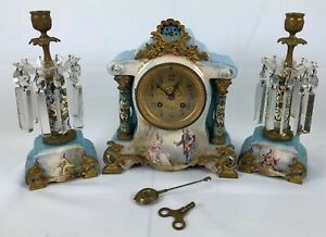 Antique French Porcelain And Cloisonne Clock Set Signed Petit With Bronze Detail