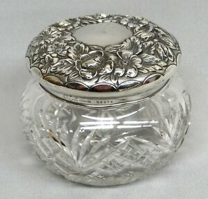 Lovely Cut Glass Powder Jar With Gorham Sterling Silver Repousse Lid