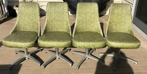 4 Avocado Green Floral Chromcraft Swivel Chairs 1960s Vintage Local Pickup