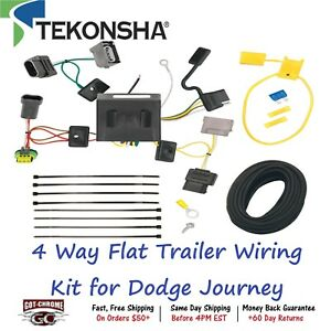 118536 Tekonsha T one 4 Way Flat Trailer Wiring Connector Kit For Dodge Journey