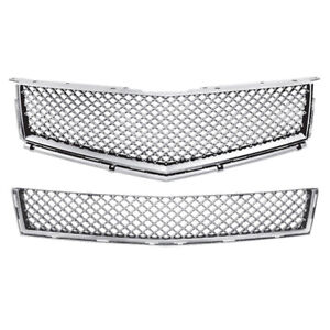 Chrome Bentley Style Top bumper Mesh Replacement Grille For 10 13 Cadillac Srx