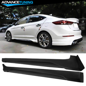 Fits 17 18 Hyundai Elantra L Style Side Skirts 2pc Unpainted Black Pp