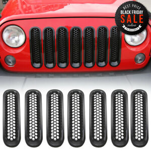 Clip On Honeycomb Front Grille Inserts Decor Cover Fit Jeep Wrangler Jk 2007 17