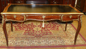 Superb Signed French Leather Top Bronze Mounted Bureau Plat Writing Table Desk