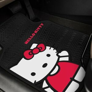 Plasticolor 1st Row Black Pink Rubber Floor Mats W Hello Kitty Design