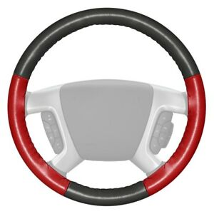 Wheelskins Eurotone Two color Charcoal Steering Wheel Cover W Red Sides Color