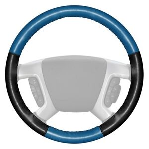 Wheelskins Eurotone Two color Sea Blue Steering Wheel Cover W Black Sides Color
