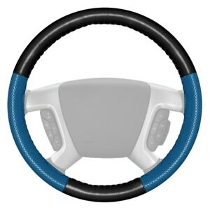 Europerf Perforated Black Steering Wheel Cover W Sea Blue Sides Color
