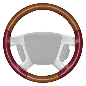 Wheelskins Eurotone Two color Tan Steering Wheel Cover W Burgundy Sides Color