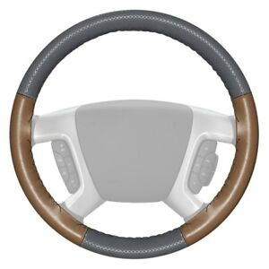 Wheelskins Europerf Perforated Gray Steering Wheel Cover W Oak Sides Color