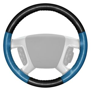 Wheelskins Eurotone Two color Black Steering Wheel Cover W Sea Blue Sides Color