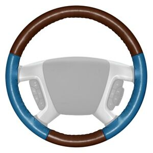 Wheelskins Eurotone Two color Brown Steering Wheel Cover W Sea Blue Sides Color
