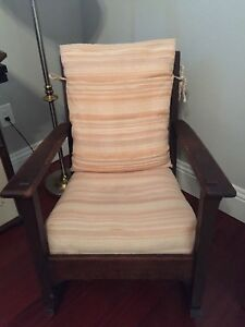 Antique Oak Arts And Crafts Furniture Signed Limbert Mission Rocking Arm Chair