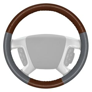 Wheelskins Europerf Perforated Brown Steering Wheel Cover W Gray Sides Color