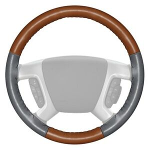 Wheelskins Eurotone Two color Tan Steering Wheel Cover W Gray Sides Color