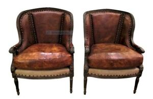 Pair Leather Chairs Nailheads Wood Frame Classic Vintage Ralph Lauren Inspired