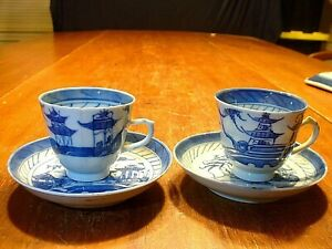 2 Antique Chinese Porcelain Blue White Canton Export Tea Cups Saucers 1