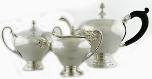 Antique Shreve Crump Low Co Sterling Silver 3 Piece Tea Service Set No Mono