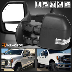 Fit 2017 2019 Ford F250 F350 Superduty Power heated led Signal Towing Mirrors