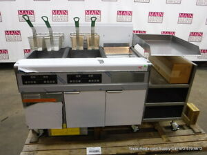 New Frymaster Natural Gas Double Bay Fryer Right Dump Station Filtration System