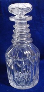 Early American Blown Cut Glass Decanter 4 Neck Rings Gothic Arches Ca 1850 1880