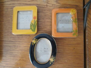 Vintage 3 Miniature Enamel Floral Picture Frames Two Square And Oval