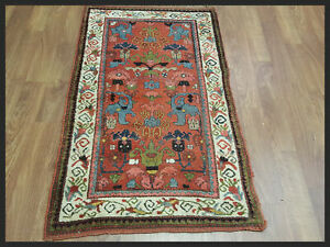Antique Bijar Reds 3x6 Bidjar Persian Oriental Area Rug