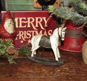 Primitive Antique Vtg Style Christmas Tree Rocking Horse Pony Resin Ornament