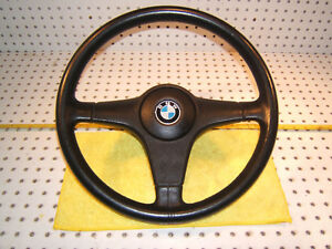 Bmw Med E30 Bmw Black Leather Steering Oem 1 Wheel Horn 1 Switch 15 Inch T 2