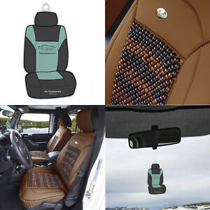 Brown Cooling Bead Leather Seat Covers For Auto Car Suv W Free Gift
