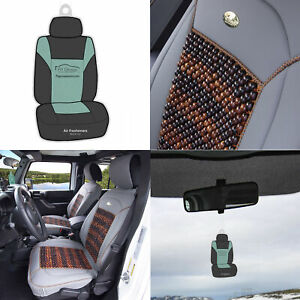 Premium Leather Cushion Seat Covers Cooling Beads Universal Fitment Gray W Gift