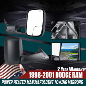 Set Towing Mirrors Fit 1998 2001 Dodge Ram 1500 2500 3500 Black Power Heated