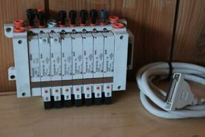 Smc Pneumatic Air Manifold Assembly 8x Solenoid Valves Valve Stack Terminal