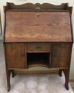 Antique Drop Front Secretary S Desk Large Oak Finish Unique Design