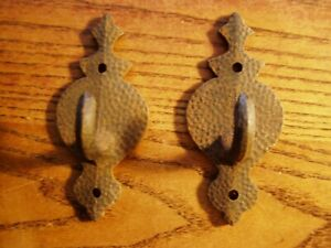 2 Hooks Cast Iron Wall Coat Hat Fireplace Tool Vintage Style