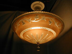 Antique Vtg Art Deco 30s Bubble Berwick Glass Shade Light Fixture Chandelier