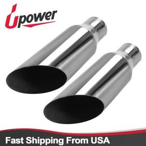 2 Pcs Polished Exhaust Tip Angle Cut Round Tailpipe 2 25 inlet 3 5 outlet 12 l