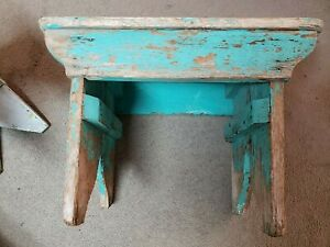 Antique Primitive Finnish Wood Painted Bench Milking Stool Shabby Farm Farmhouse
