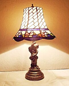 Lamps A Vintage 21 H Tiffany Style Fancy Stain Glass Cast Cherub Table Lamp