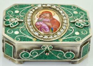 One Of A Kind Antique Imperial Russian Hand Painted Enamel Pearls 84 Silver Case