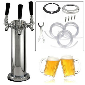 Triple Tap Faucet Stainless Steel Draft Beer Tower Homebrew Bar Fit Kegerator Us