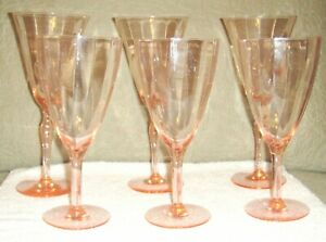 6 Vintage Pink Ribbed Depression Era Glasses 3 7 3 8 All Good Cond