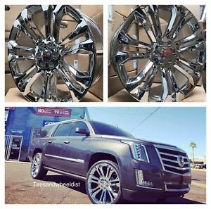 26 Gmc Sierra Yukon Chrome Wheels Tires Chevy Tahoe Silverado Rims Escalade New